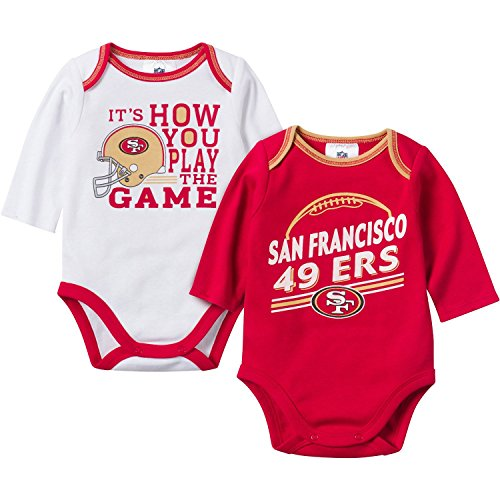 Gerber Childrenswear NFL San Francisco 49ers Girls Long Sleeve Bodysuit (2 Pack), 3-6 Months, Red/White