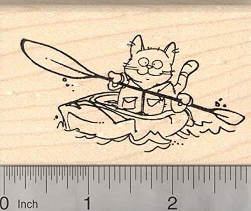 Cat Kayak Rubber Stamp, River Kayaking