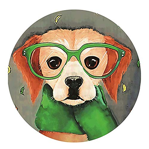 (Round Pet Mattress Cushion Cartoon Lovely Dog Rugs Carpet Mat Non-Slip Various Patterns 2mm (Color : M, Size : DIAMETER78CM))