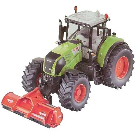 SIKU Claas - Tractor con cortacésped en miniatura (escala 1:32)