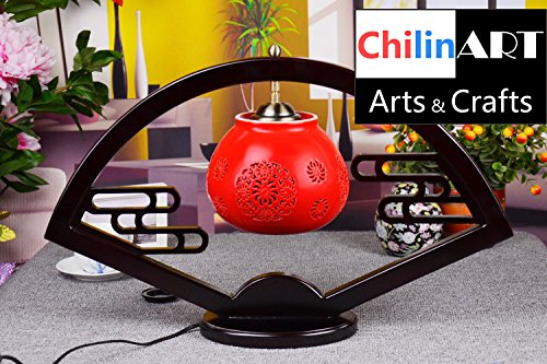 Red Porcelain Ceramic Table Lamp, Lampshade Apple Shape, Fan Shape China  Collocation Traditional Arc