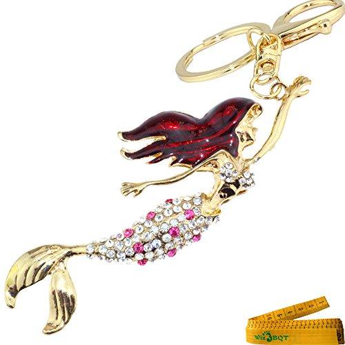 Romantic Lovely Charming Mermaid Crystal Rhinestone Keychain Key Chain Key Ring Charm (Pink Mermaid) -