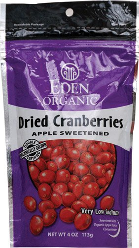 Eden Foods Organic Dried Cranberries Sweetened with Apple Juice -- 4 oz - 2 pc (Cranberries Dried Sweetened)