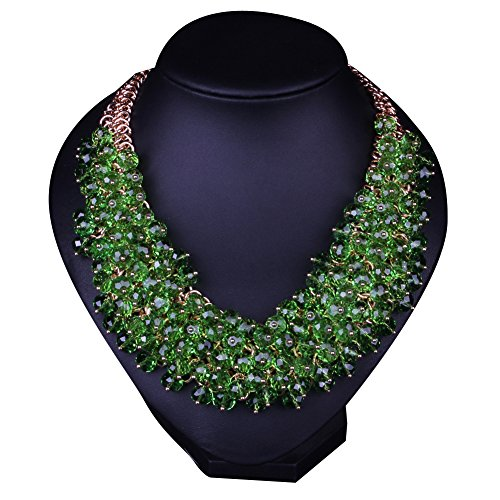 Hamer Womens Green Bib Choker Statement Necklace Gold Plated Chain Pendant Jewelry for Women Party Use