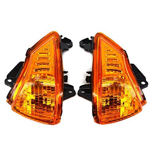 Front Turn Signals Blinker Light Lamp Indicator Cover Guard For KAWASAKI ER6N ER6F 2009-2011 Yellow: