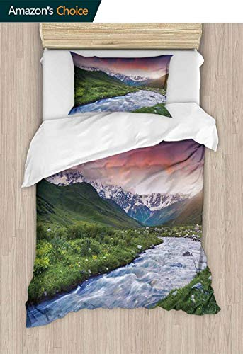 Modern Pattern Printed Duvet Cover, Colorful Overcast Sky Skirts Mt. Shkhara Svaneti Georgia Caucasus Mountains, Soft Microfiber Bedspread Coverlet Bedding,39 W x 51 L Inches, Fern Green Baby Blue