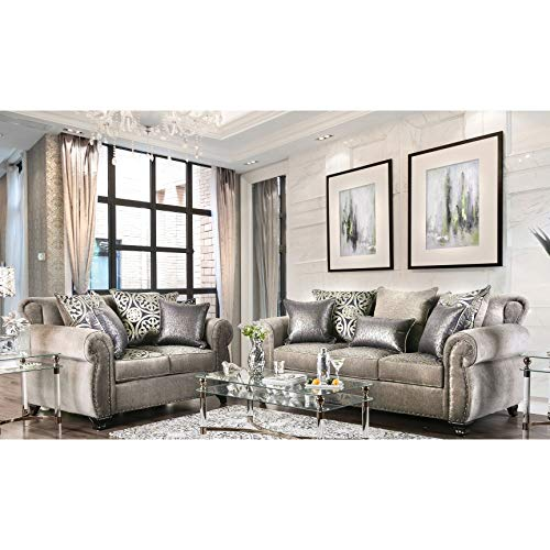 Furniture of America Daeler Classic 2-Piece Chenille Sofa Set - Classic Sofa Chenille