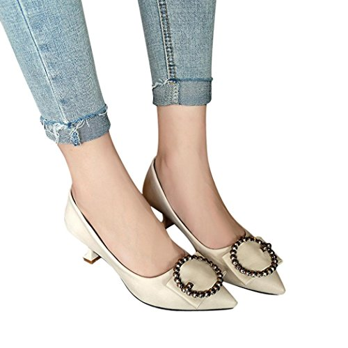 Amiley Women Pointed Toe Sandals,Women Shallow Pointed Toe Sandals Ankle High Thin Heels Party Jobs Office Single Shoes (Beige, 6.5) by Amiley