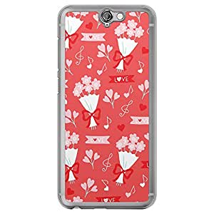 Loud Universe HTC One A9 Love Valentine Printing Files Valentine 34 Printed Transparent Edge Case - Red/White