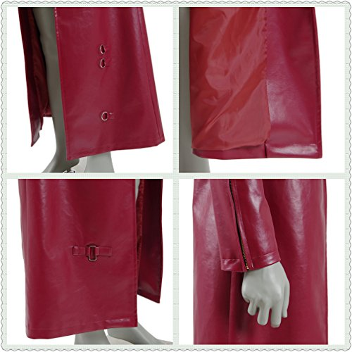 Men's Red PU Leather Trench Coat Cospaly Costume Halloween Outfit Uniform (US Men-L, Red) by FANER (Image #6)