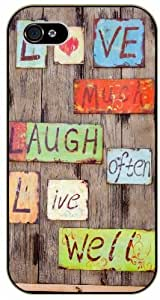 Love much, laugh often, live well - Vintage wood - Bible verse IPHONE 5C black plastic case / Christian Verses