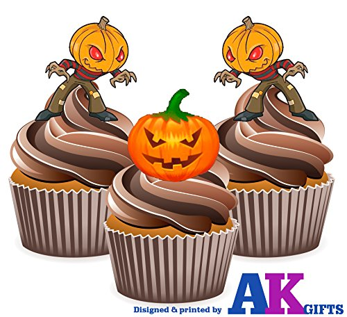 12 X citrouille d'Halloween avec citrouilles de man-carte en Papier comestible prédécoupé pour décorations de gâteau avec support de fixation (7 - 10 BUSINESS DAYS DELIVERY FROM (Une Citrouille D'halloween)