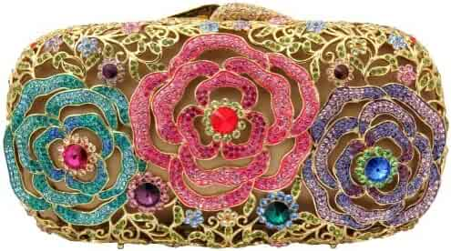 048a16729d Gold Plated Triple Rose Flowers Design Clutch With Swarovski Elements  Crystals