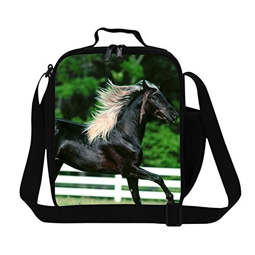 - Creativebags Man and Women Lunch Bags for Outdoors Sports Leisure Life and School Children Boys Girls Polyester 3D Horse Prints