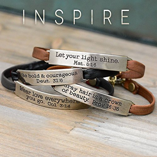 Sweet Romance Trust in the Lord Prov 3:5 Inspirational Leather Band Bible Message Bracelet (Black Leather) by Sweet Romance (Image #3)