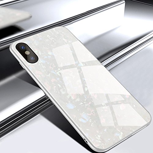 GIZEE Phone Case Compatible with iPhone X & iPhone Xs, Luxury Glitter Bling 9H Tempered Glass Back Cover Soft TPU Bumper Frame Protecive Case (White)