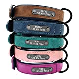 Didog Custom Leather Dog Collars with Personalized Engraving Nameplate,Personalized Padded Dog Collars Engraved for Small Medium Large Dogs,Blue,L Size