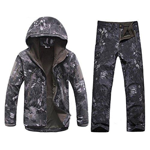 YouzhiWan007 Winter Autumn Waterproof Shark Skin Softshell Jacket Set Men Tactical CP Camouflage Jacket Coat Camo Military Army Clothes Suit Black Python XXXL - Xxx Cp Set