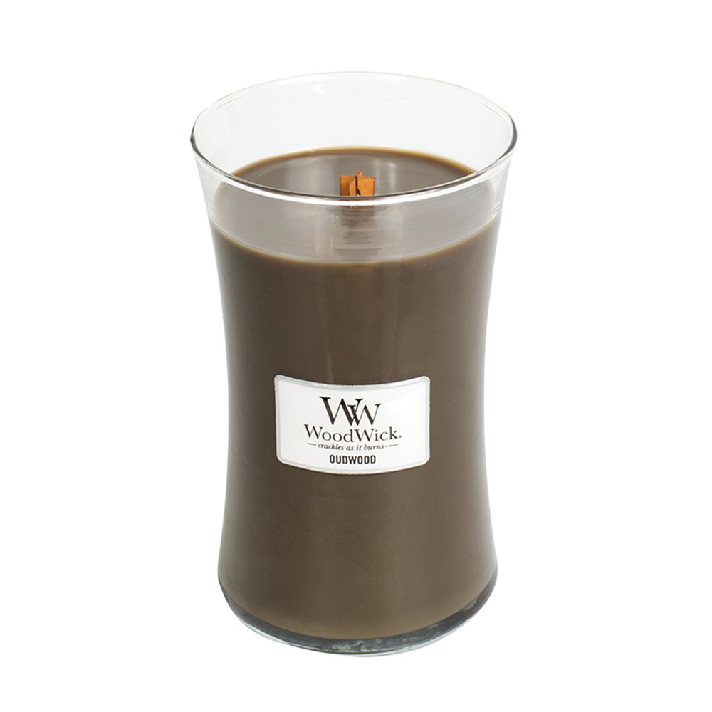 Oudwood WoodWick Glass Jar Scented Candle, Large 22 oz.