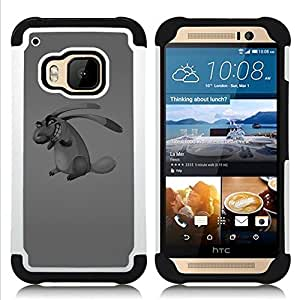 Dragon Case- Dise?¡Ào de doble capa pata de cabra Tuff Impacto Armor h??brido de goma suave de silicona cubierta d FOR HTC ONE M9- DACHSHUND ART LONG DRAWING EVIL DOG EARS