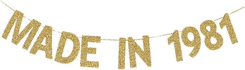 Made in 1981 Banner, Women/Men' 39th Birthday Party Fun Gold Gliter Paper Sign Backdrops