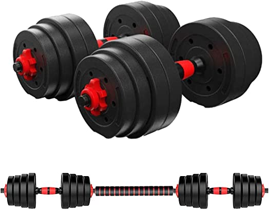 FITORON Adjustable Weights Dumbbells Set Fitness Dumbbells Set for Men and Women with Connecting Rod Can Be Used As Barbell Free Combination