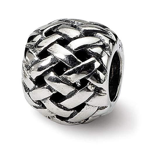Sterling Silver Reflection Basket weave Bali Solid Bead (Bali Weave Bracelet)