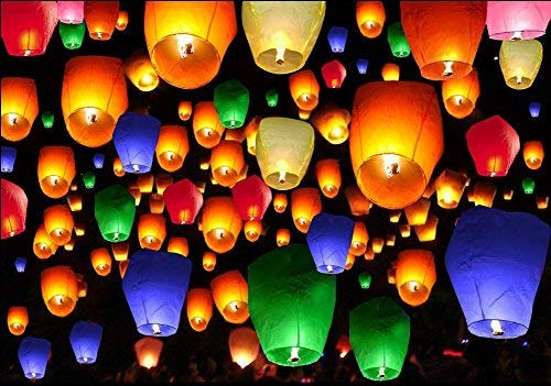 50pcs Mix Color Chinese Paper Lanterns Sky Fire Fly Candle Lamp for Wish -