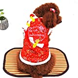 SELMAI Floral New Year Chinese Tang Dog Costume Dog Jacket Vest Coat Winter Red XL, for Small Dog Cat Puppy