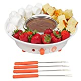 MasterChef Chocolate Fondue Maker- Deluxe Electric Dessert Fountain Fondue Pot Set with 4 Forks and Party Serving Tray