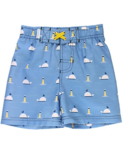 RuggedButts Infant/Toddler Boys Nautical Whales & Lighthouse Print Swim Trunks - Blue - (Lighthouse Trunk)