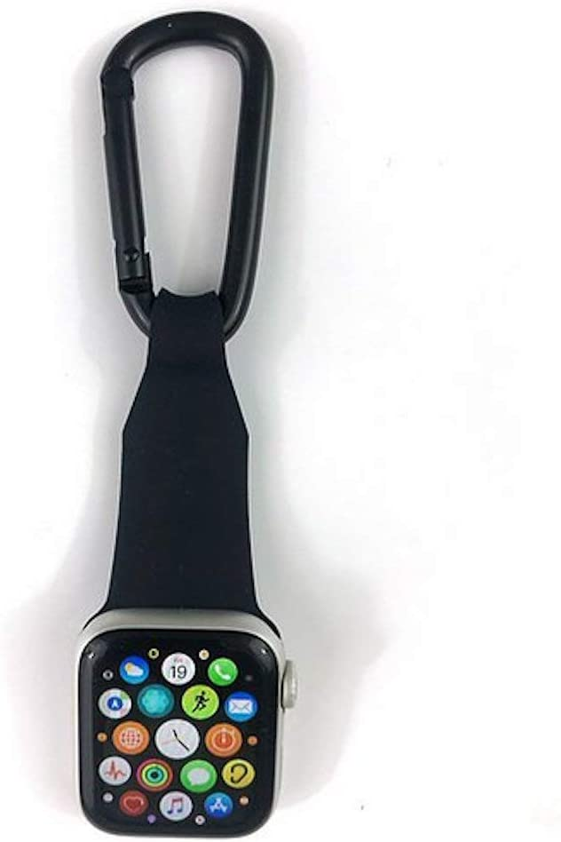 inurseya Carabiner Watch Fob Compatible with Apple Watch 1-6 (38mm-44mm) (Black)