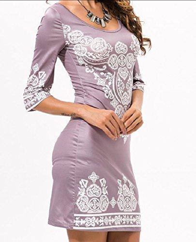 Coolred-femmes Taille Plus Moulante Style Ethnique Moitié Manches Mini Robe Kaki