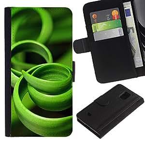 KingStore / Leather Etui en cuir / Samsung Galaxy S5 Mini, SM-G800 / Hierba Verde Negro Naturaleza