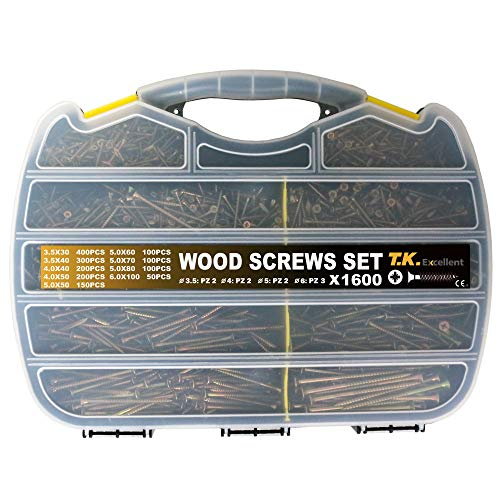 T.K.Excellent Wood Screw Phillips Flat Head Drywall Chipboard Screw Assortment Kit,1600 Pcs