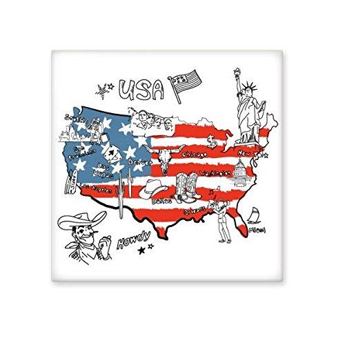 America Map Flag Landmark Statue of Liberty Word Illustration Pattern Ceramic Bisque Tiles for Decorating Bathroom Decor Kitchen Ceramic Tiles Wall Tiles 70%OFF