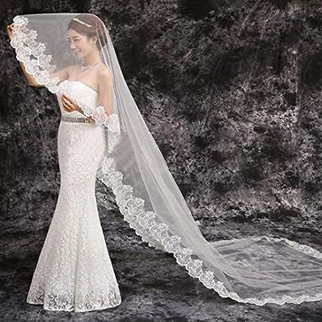 L100xW57 Bridal Wedding Veil,Vintage Long Veil Sequins Lace Cathedral Bridal Veil Comb