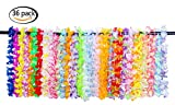 JSSHI 36 Counts Hawaii Wreaths Leis,Tropical Hawaiian Luau Artificial Flower Leis Necklaces Hawaiian Theme Party Supplies Party Favors, Assorted Colors(3 Dozens)
