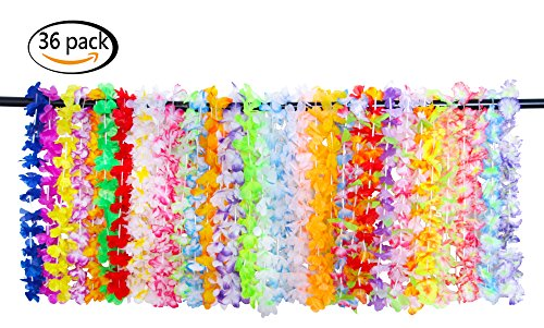 JSSHI 36 Counts Hawaii Wreaths Leis,Tropical Hawaiian Luau Artificial Flower Leis Necklaces Hawaiian Theme Party Supplies Party Favors, Assorted Colors(3 Dozens) -