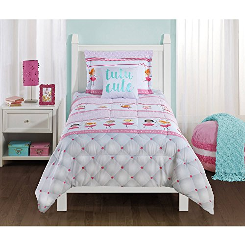 Mainstays Kids Ballerina Pink Whimsical Bedding TWIN Comforter for Girls (3 Piece in a Bag)