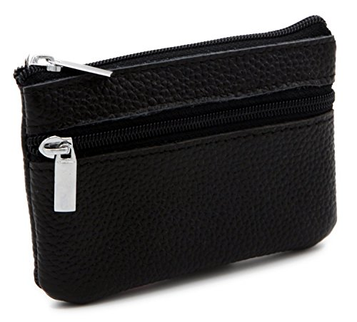 DEEZOMO Genuine Leather Card Case Wallet / Coin Change Purse with Key Ring - Black