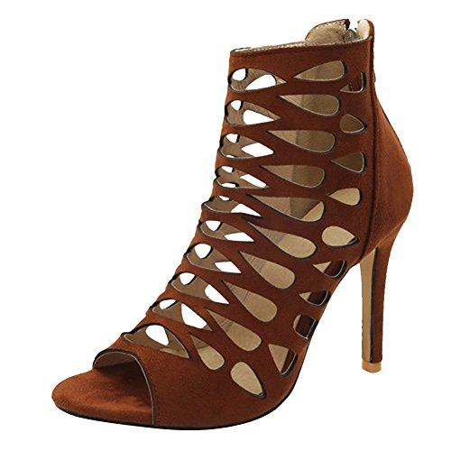 Carolbar Womens Zip Peep Toe Retro Gladiator Stilettos Summer Boots Brown u7GOrRPVJ