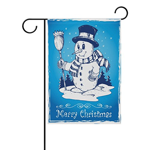 Blue Viper Christmas Decorations Garden Flag Blue And White Snowman Pattern Waterproof Polyester Fabric and Mildew Resistant for Outdoor Lawn and Garden Double Side Print 12 x 18 inch
