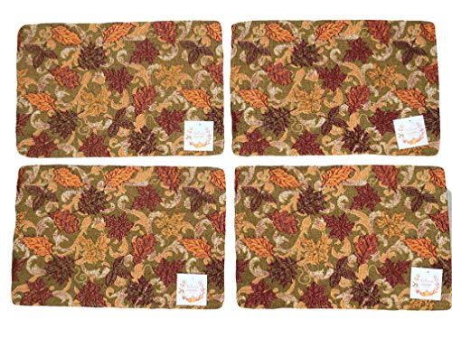 Plum Nellies Treasures Fall Placemats Set of 4 - (Falling Leaves with Metallic Threading)