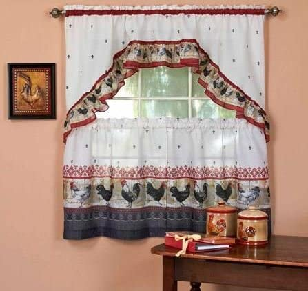 Home Fashions Roosters Kitchen Curtain Set 3 Pc