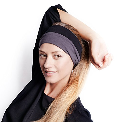 The Original BLOM. Patent Pending Headband for Sports or Fashion, Yoga or Travel. 30 Day Happy Head Guarantee. Super Comfortable. Designer Style & Quality. Charcoal & Black. (Headband Hair Sport)