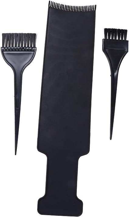 Lurrose Plancha Larga y Juego de Brochas para Decoloración del Cabello para Uso Doméstico y de Salón (negro)