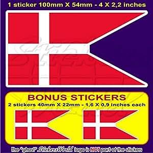 """Dinamarca Danmark de bandera de Estado Danés 4""""(100mm) Bumper de vinilo adhesivo, adhesivo x1+ 2Bonus"""