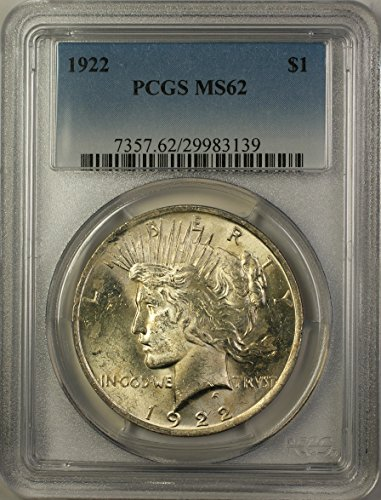 1922 Peace Silver Dollar Coin (ABR12-C) Better Coin $1 MS-62 PCGS