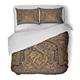 SanChic Duvet Cover Set Colorful Border Paisley Indian Baroque Floral Oriental Arabian Decorative Bedding Set with 2 Pillow Shams Full/Queen Size